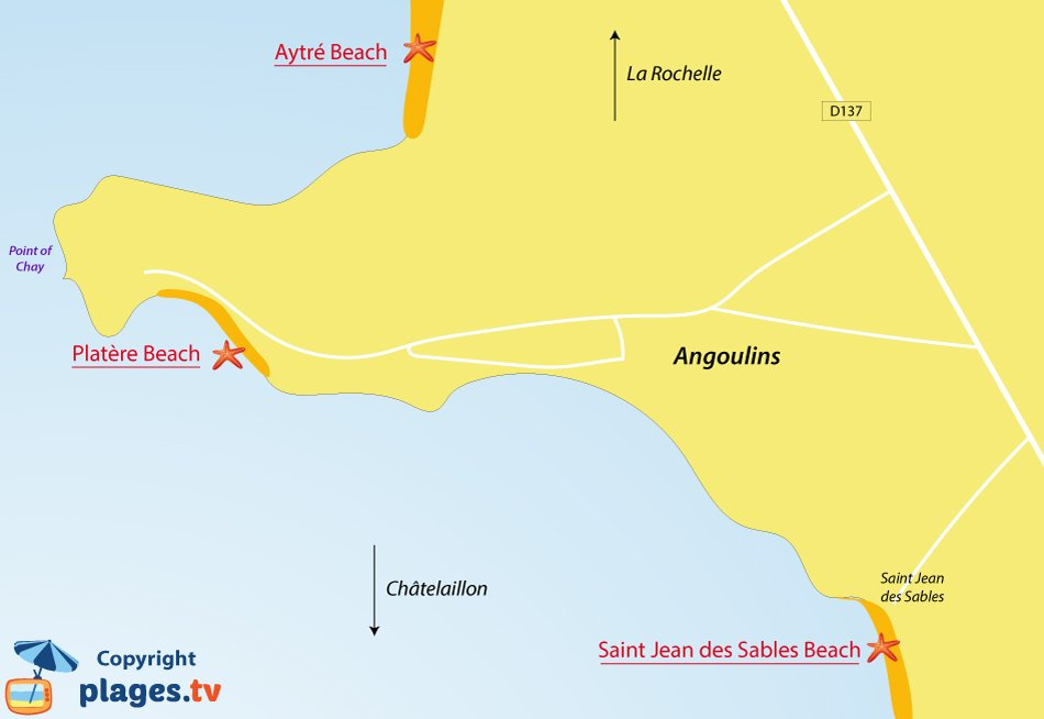 Map of Angoulins beaches in France