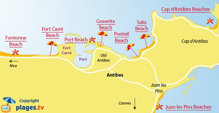 Map of Antibes beaches - France