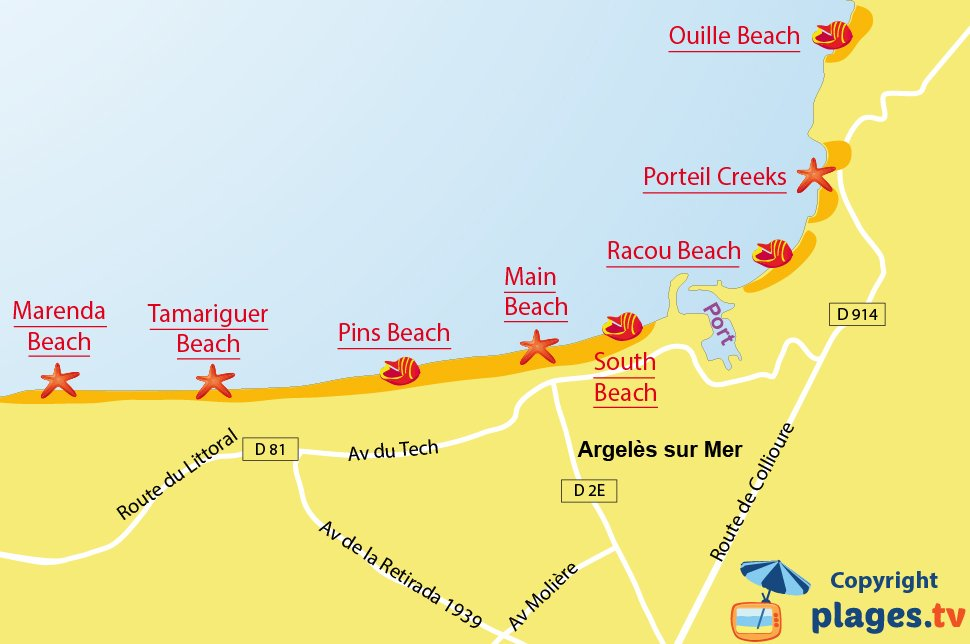 Map of Argeles sur Mer beaches in France