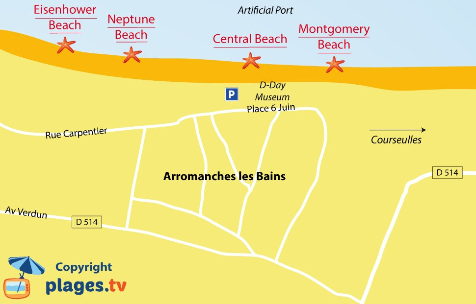 Map of Arromanches les Bains beaches in Normandy - France
