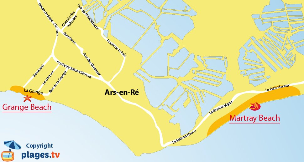 Map of Ars en Ré beaches in France - Ré Island