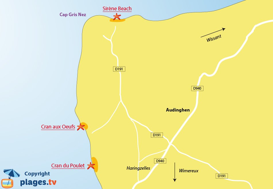 Map of Audinghen beach in France
