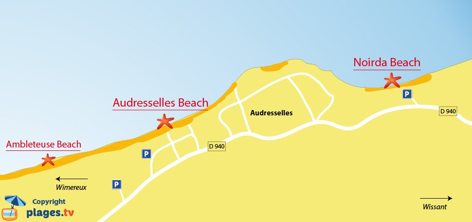 Map of the Audresselles beaches in France