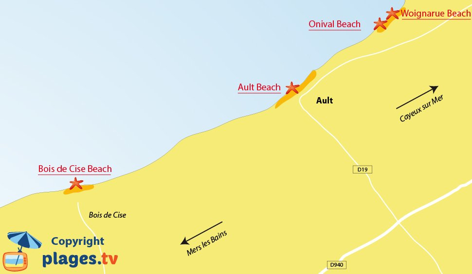 Map of Ault beaches in North of France - Picardy