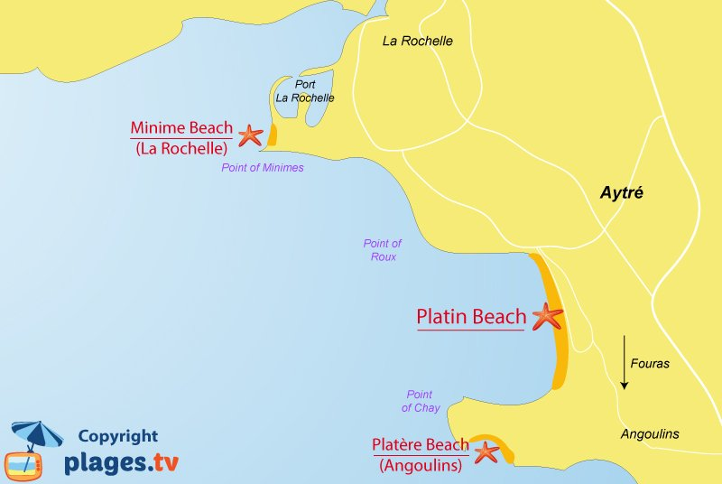 Map of Aytre beaches in France
