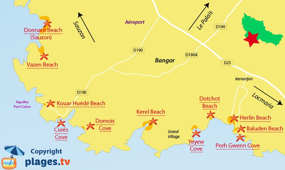 Map of Bangor beaches in Belle Ile en Mer - France