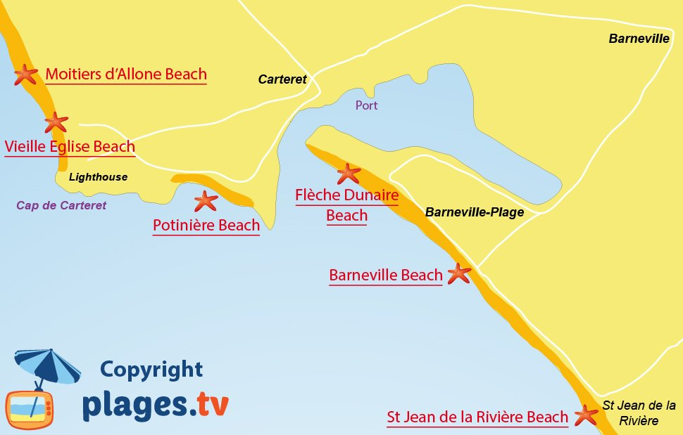 Map of Barnevlle Carteret beaches in France
