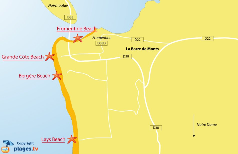 Map of La Barre de Monts beaches in France