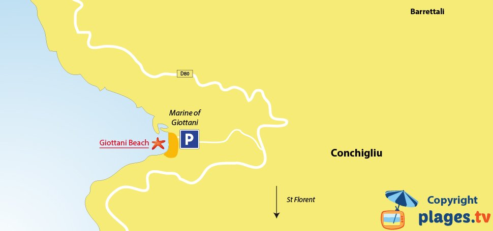 Map of Barrettali beaches in Corsica