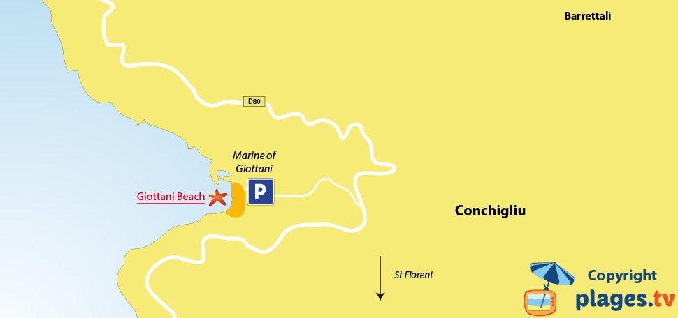 Map of Barrettali beaches in Corsica