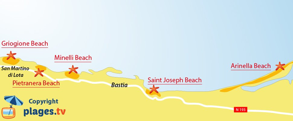 Map of the Bastia beaches in Corsica - France