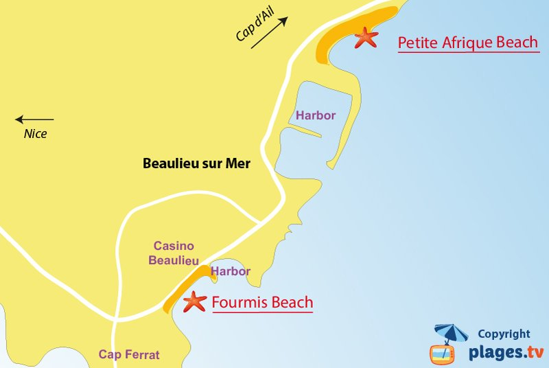 Map of Beaulieu-sur-Mer beaches in France