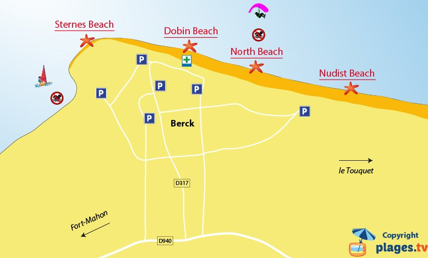 Map of the beaches in Berck in France