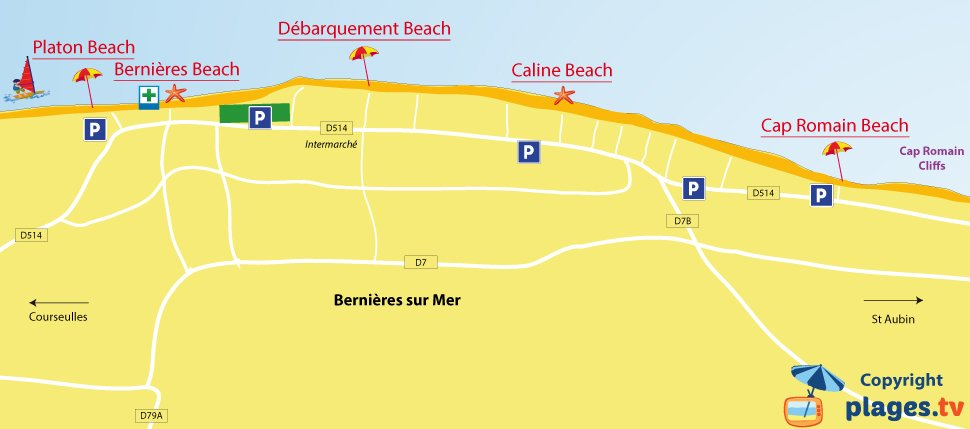 Map of Bernieres sur Mer beaches in Normandy - France