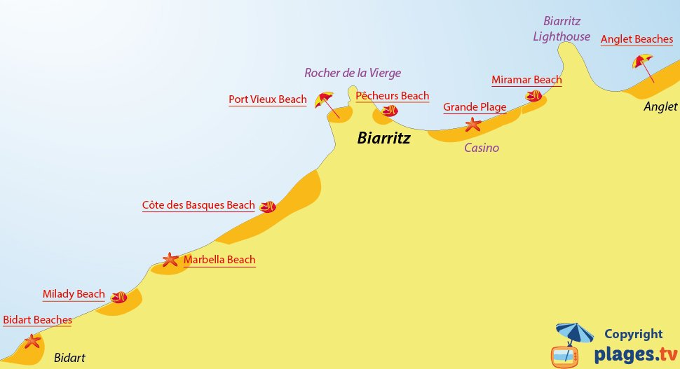 Map of Biarritz beaches in France