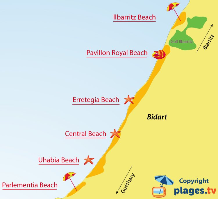 Map of Bidart beaches in France