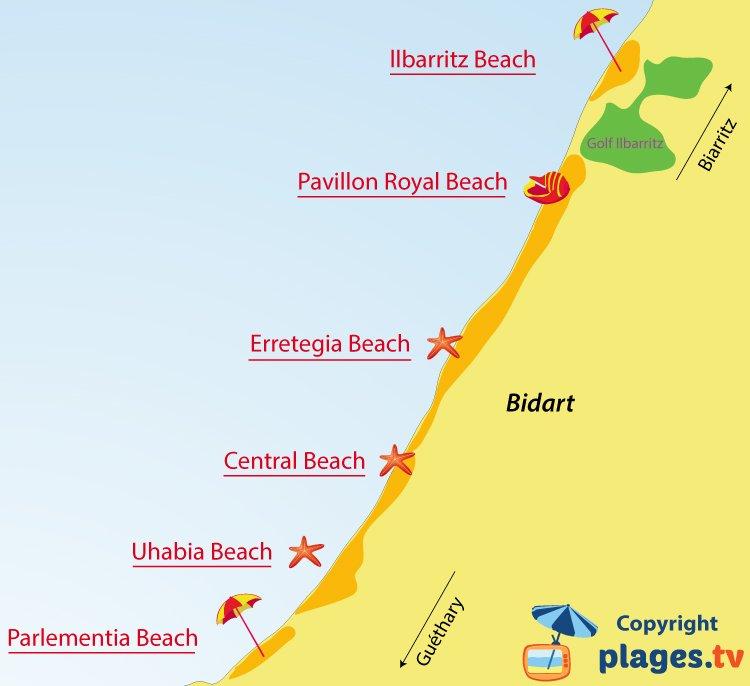 Map of Bidart beaches in France