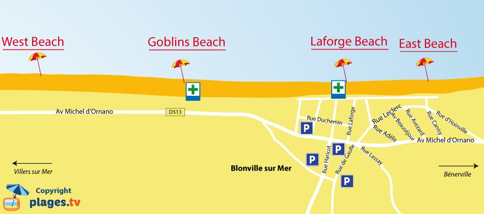 Map of Blonville sur Mer beaches in Normandy