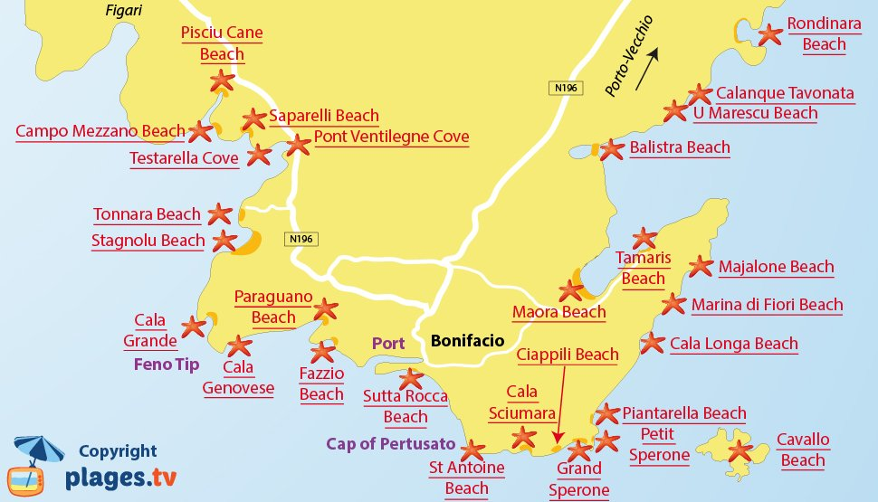 Map of Bonifacio beaches in Corsica