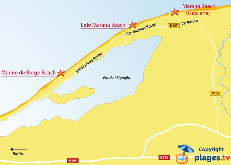 Map of Borgo beaches in Corsica