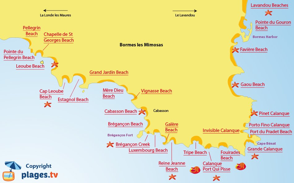 Map of the Bormes les Mimosas beaches in France