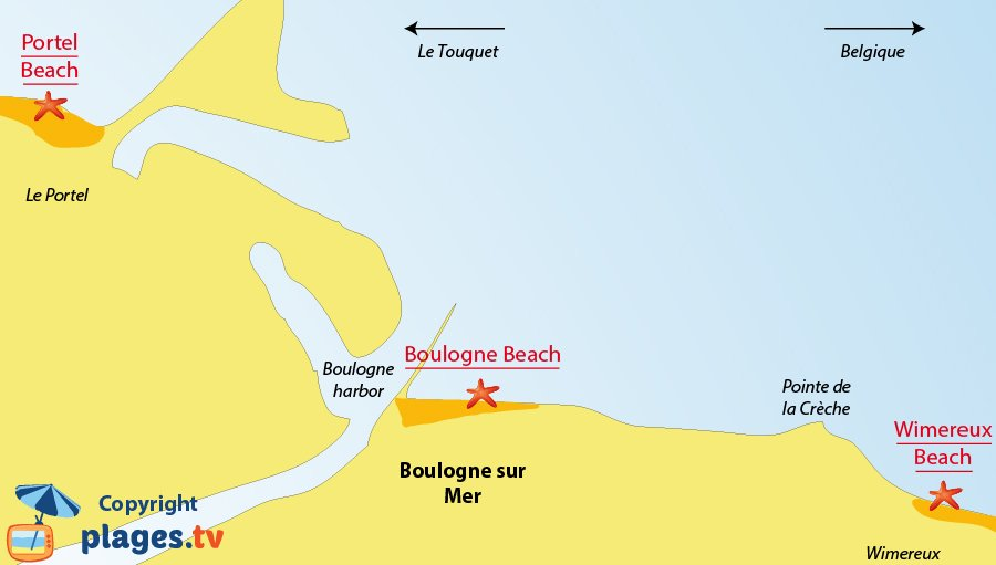 Map of the Boulogne sur Mer beaches in France