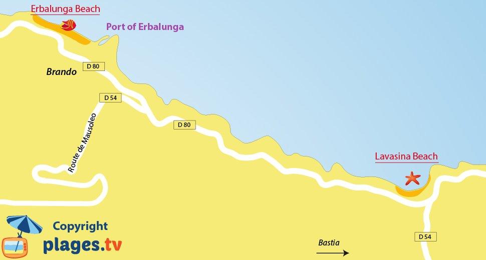 Map of Brando beaches in Corsica