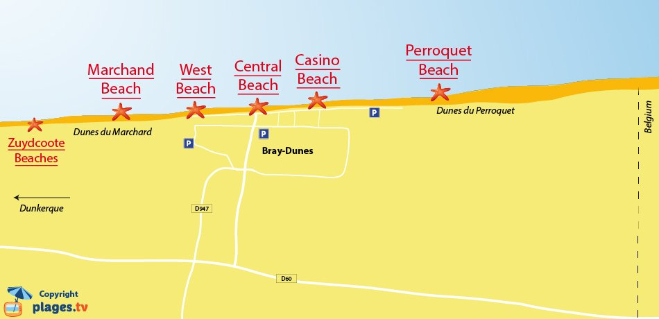 Map of the beaches in Bray-Dunes in France