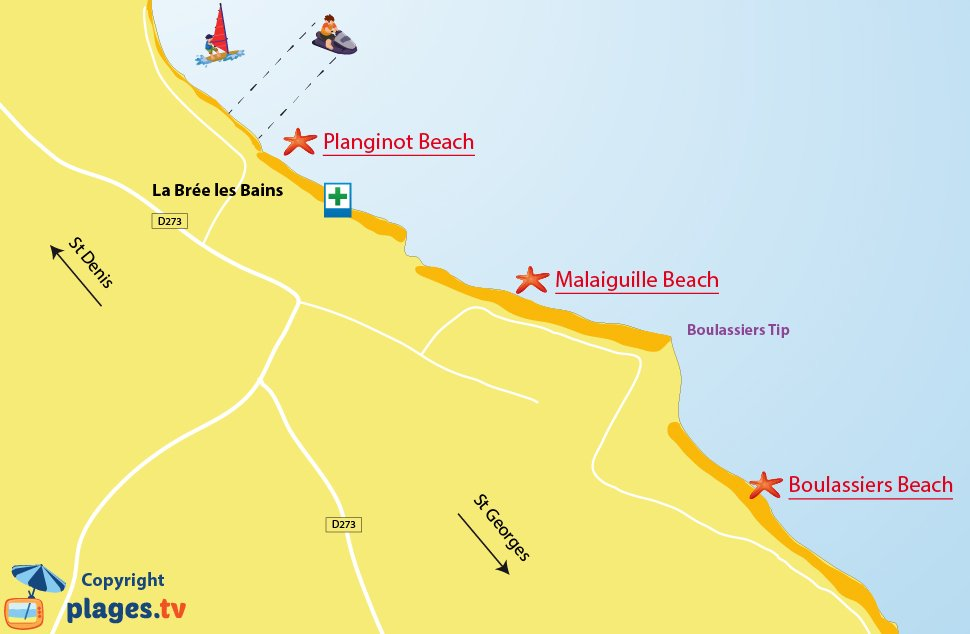Map of the beaches in Brée les Bains - Oleron island - France