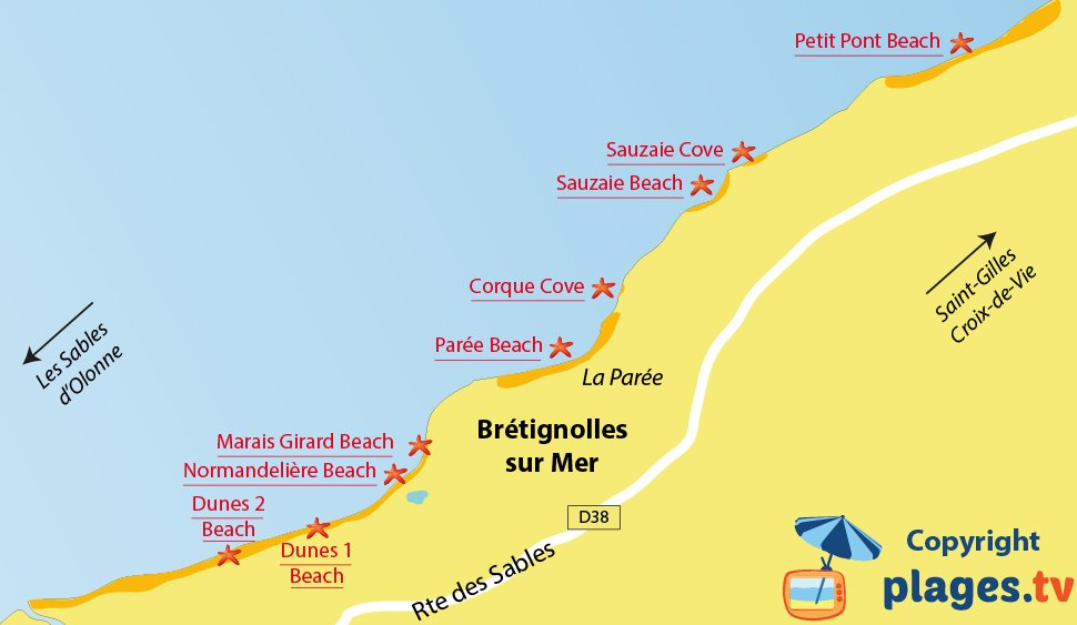 Map of Br�tignolles sur Mer beaches in France
