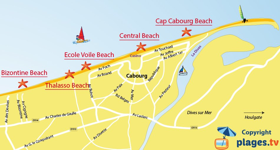 Map of Cabourg beaches in France