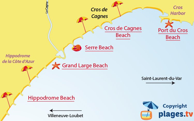 Map of Cagnes sur Mer beaches in France