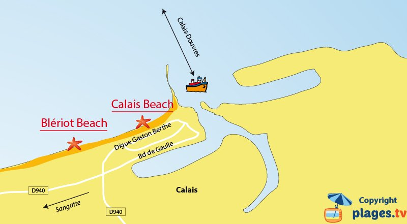 Map of the Calais beaches in France