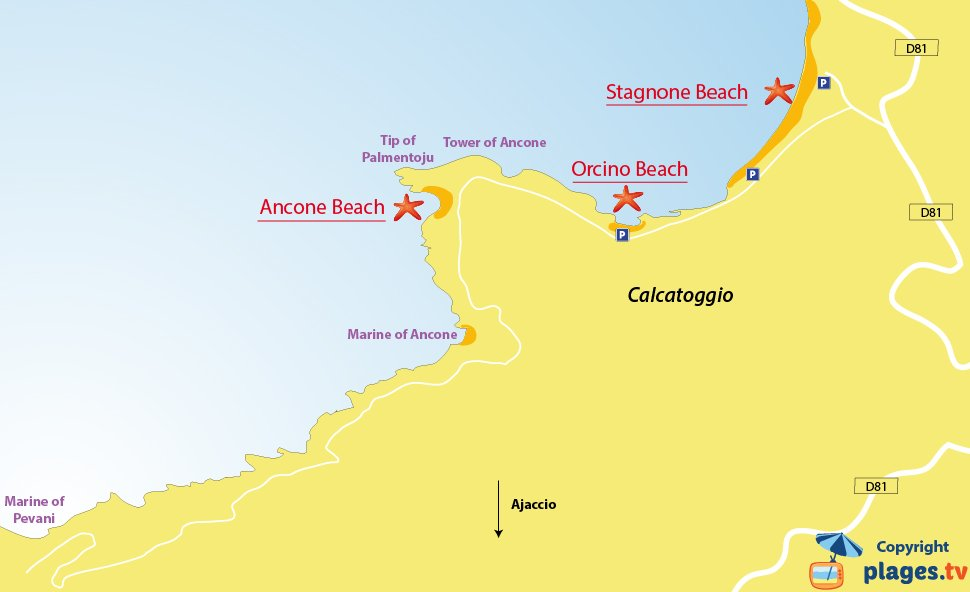 Map of Calcatoggio beaches in Corsica