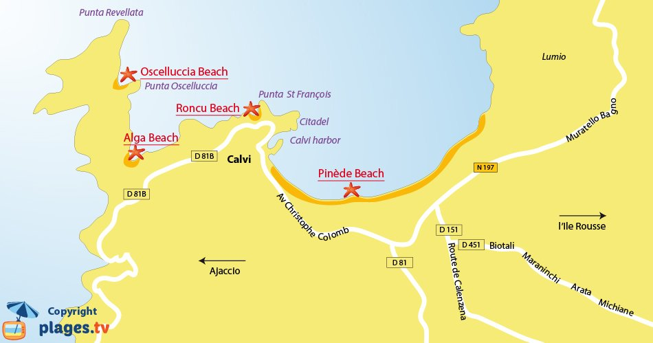 Map of the Calvi beaches in Corsica - France