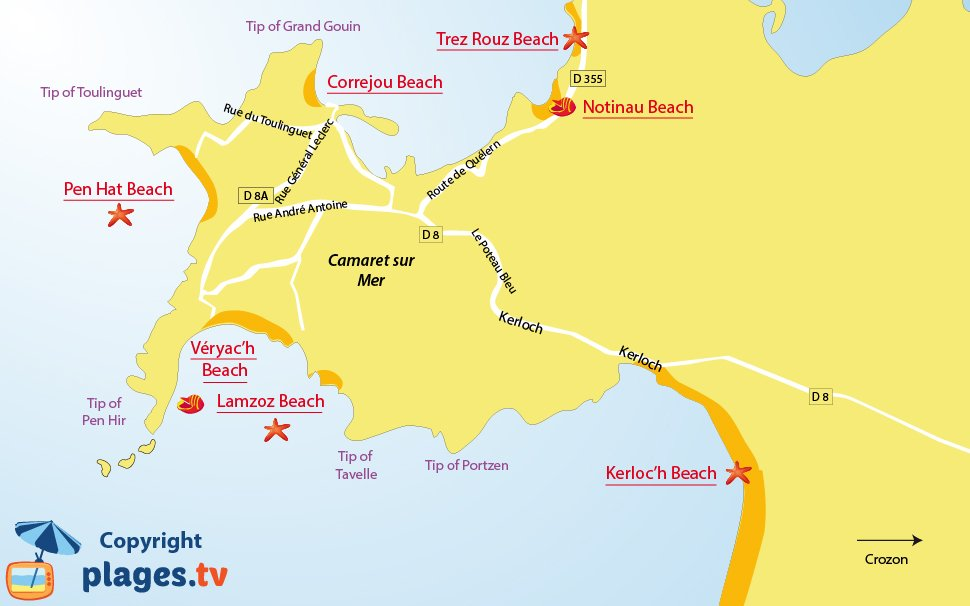Map of the beaches in Camaret sur Mer in Brittany - France