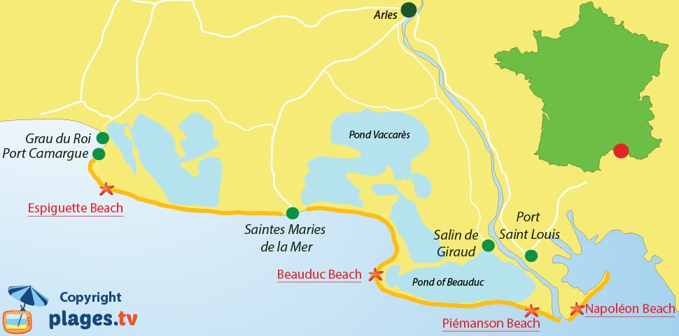 Map of Camargue beaches in France