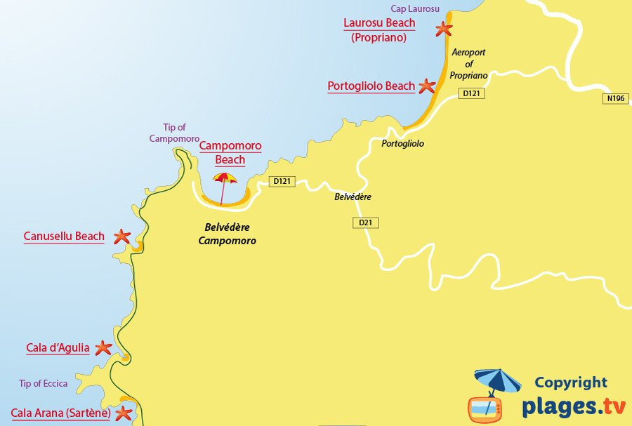 Map of Belvédère-Campomoro beaches in Corsica