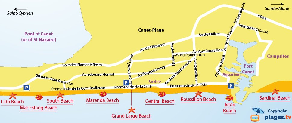 Map of Canet-en-Roussillon beaches in France
