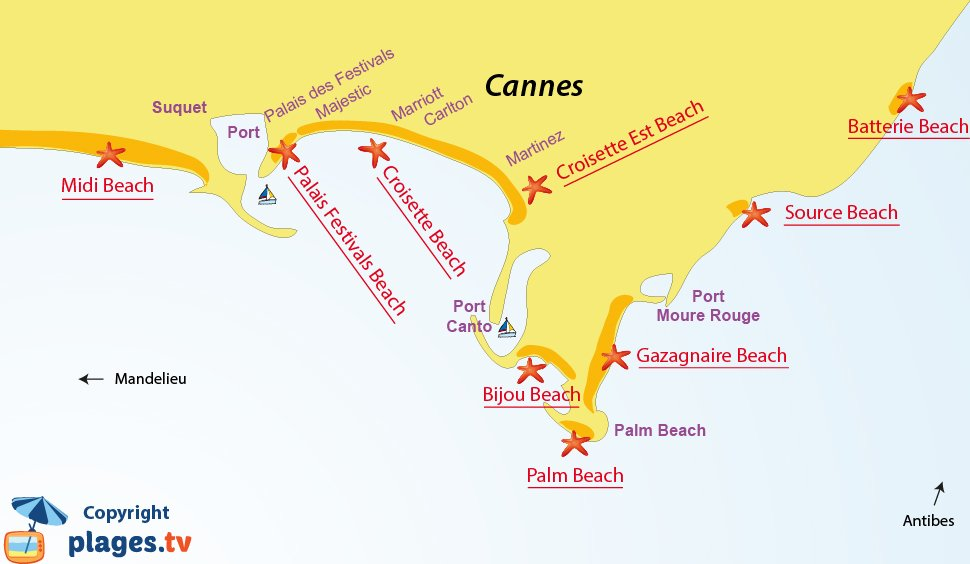 Map of the beaches in Cannes in France