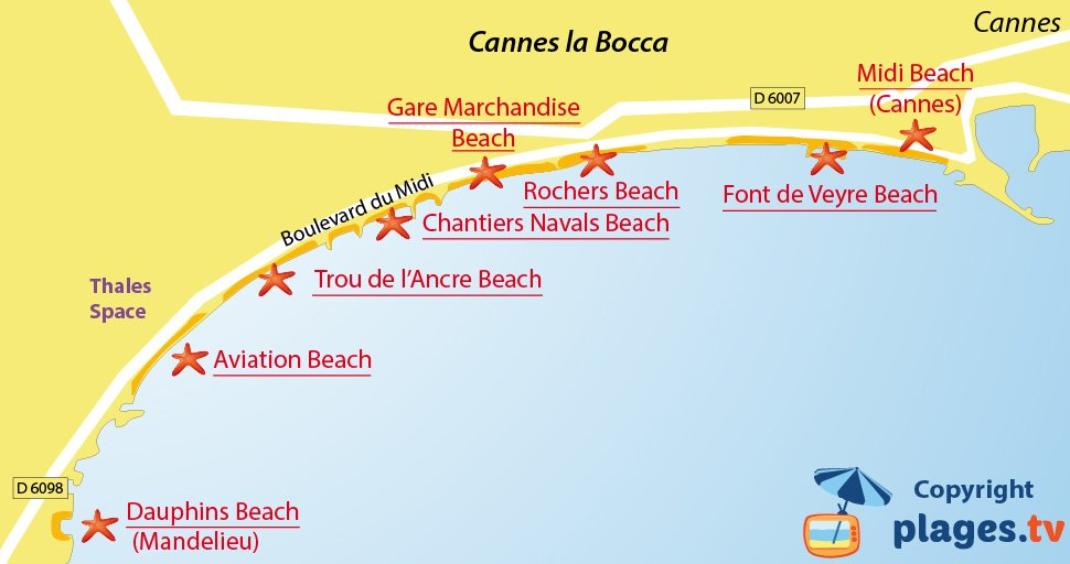 Map of Cannes la Bocca beaches in France