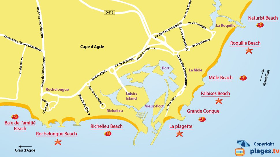 Map of Cap d'Agde beaches in France