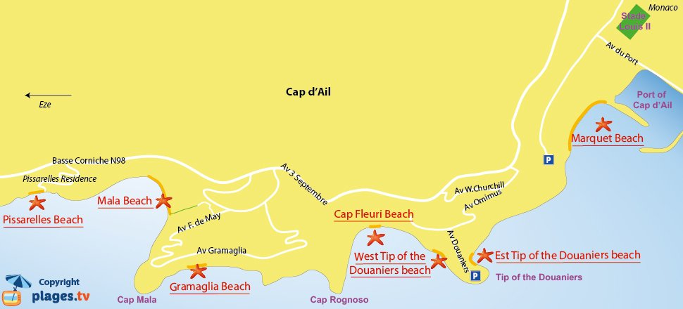 Map of the beaches of Cap d'Ail in France