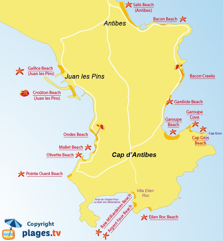 Map of Cap d'Antibes beaches in France