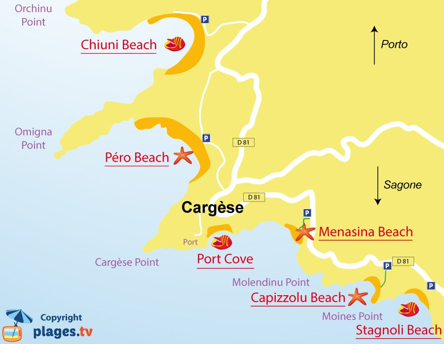 Map of Cargese beaches in Corsica