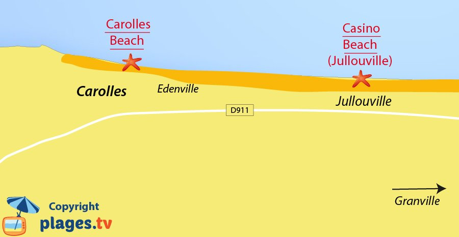Map of Carolles beaches in Normandy in France