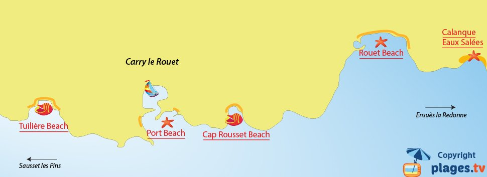 Map of Carry le Rouet beaches in France