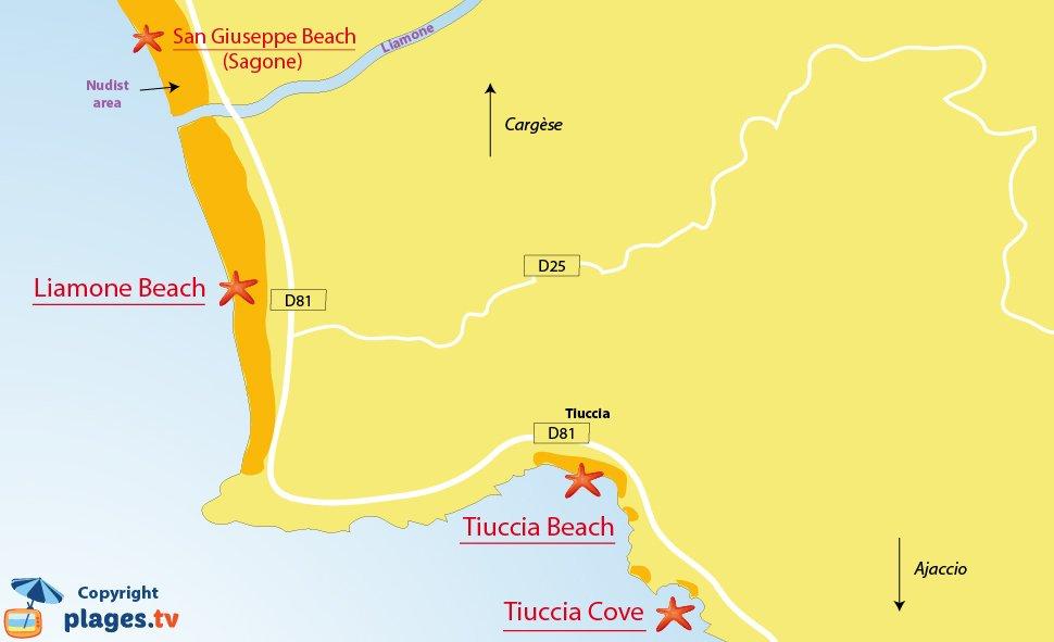 Map of Casaglione beaches in Corsica