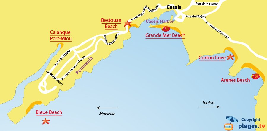 Map of Cassis beaches in France