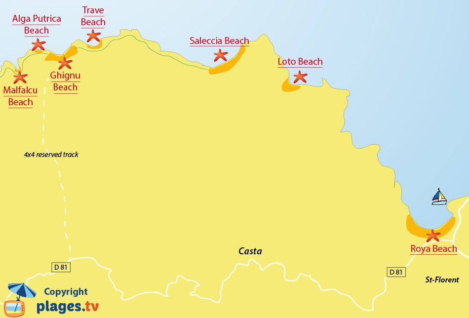 Map of beaches in desert of Agriates - Corsica - Santo-Pietro-di-Tenda